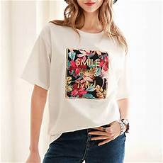 s fashion t shirt white smile for me color print