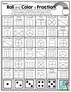 roll and color a fraction a favorite from the march no prep packet for first grade math
