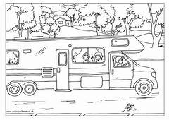 Print Out This Colouring In Page Of A Camper Van For Your
