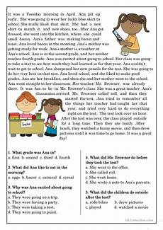 free worksheets for elementary students 15488 reading comprehension for beginner and elementary students 10 worksheet free esl print
