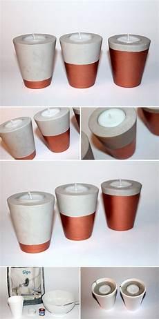 Diy Gips Beton Teelichter In Kupfer Schnell Und Einfach