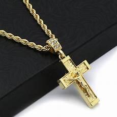 Kreuz Kette - hip hop 14k gold plated crucifix jesus cross pendant 24