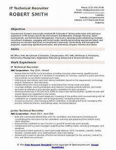 technical recruiter resume sles qwikresume