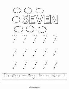 practice writing the number 7 worksheet twisty noodle