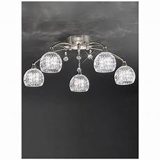 franklite jura 5 light flush ceiling light with cut glass shades
