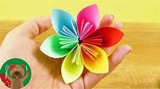 手工制作 diy 超级简单 美丽彩色七彩 春天花朵装饰 折纸自制