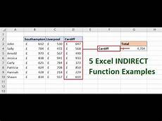 5 excel indirect function exles learn the fantastic indirect function youtube