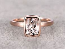 6x8mm morganite solitaire engagement ring rose gold plain gold wedding band 14k cushion cut