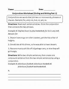 conjunctions worksheet circling part 1 englishlinx com conjunctions worksheets englishlinx com board pinterest writing writing