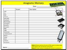 computer memory anagrams puzzle sheet ict computing
