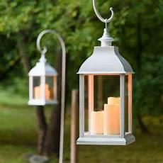lanterne a candela lanterne blanche vieillie avec 3 bougies h 54 cm led