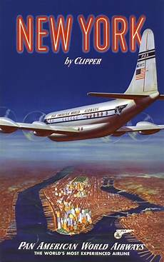 new york by clipper pan am vintage travel poster usa in posters vintage travel posters