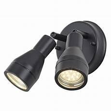 outdoor ip44 adjustable double spot wall light in matt black happy homewares