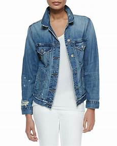 lyst j brand darci distressed denim jacket in blue
