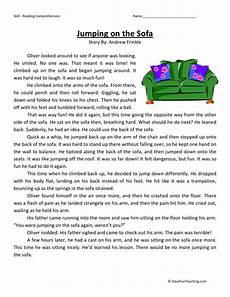 winter reading comprehension worksheets 3rd grade 20182 reading comprehension worksheet jumping on the sofa
