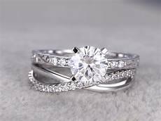 2pcs moissanite wedding ring diamond matching band white gold infinity loop curved pave