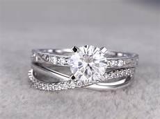 2pcs moissanite wedding ring diamond matching band