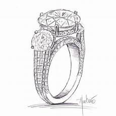 free drawing of custom trio engagement ring