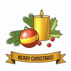 merry christmas with candle retro illustration vector free download