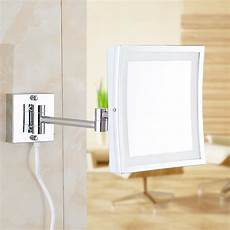 square 8 5inch led light wall mounted folding cosmetic mirror 3x magnifying led makeup mirror
