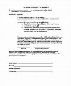 15 acknowledgement receipt template free sle