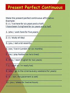 present perfect continuous interactive worksheet