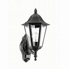 eglo navedo outdoor black silver led up lantern pir sensor wall light 60w e27 wickes co uk