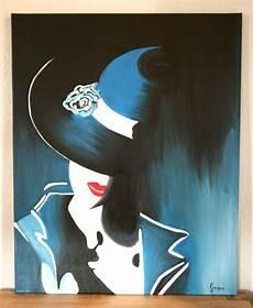 modele de tableau moderne peinture acrylique dame au chapeau moderne peintures