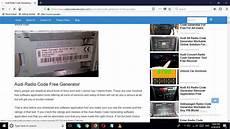 Audi Radio Code Generating Process For Free