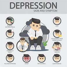 anzeichen einer depression depression signs and symptoms stock vector illustration