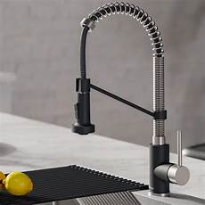 stainless steel kitchen faucet kraus bolden stainless steel matte black 1 handle pull kitchen faucet at lowes