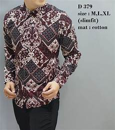 jual batik slim fit baju pria lengan panjang kemeja pria d379 baju batik modern baju batik