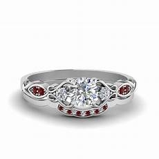 victorian style round cut diamond bridal set with ruby in 14k white gold fascinating diamonds