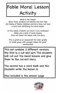 tale lesson 3rd grade 15011 fable moral lesson activity and sort by room 19 kindergarten to college
