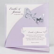 Faire Part Mariage Traditionnel Papillons Violets