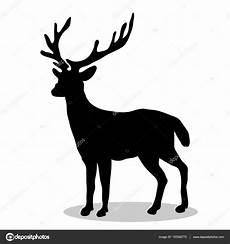 rotwild wald schwarze silhouette tier stockvektor