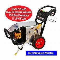 single phase high pressure washer 170 bar max 200 bar at