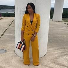 le tailleur pantalon femme jaune moutarde vs fall