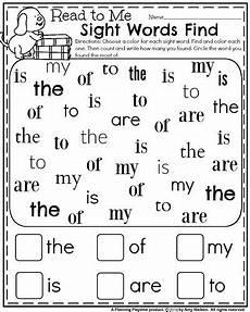 back to school kindergarten worksheets sight words find and color preschool sight words