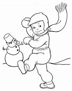 malvorlagen junge wirft einen schneeball