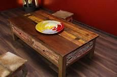 Couchtisch Holz Massiv Schubladen Mehrfarbig Recycelt
