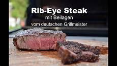 rib eye steak vom grill mit beilagen us beef vom