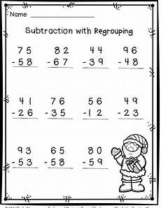 christmas math 2 digit subtraction with regrouping free