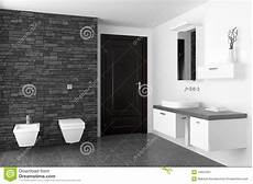 Modernes Badezimmer Mit Schwarzer Steinwand Stockbild