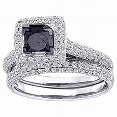 womens black diamond engagement halo ring wedding band