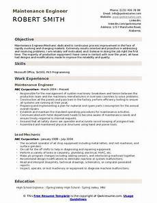 maintenance engineer resume sles qwikresume