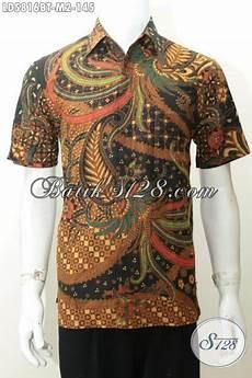baju batik klasik kombinasi tulis khas jawa tengah hem batik lengan pendek elegan seragam kerja