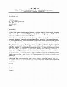 secondary teacher cover letter sle letter of intent