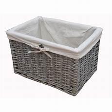 Basket Storage by Grey Wash Wicker Storage Basket Lined