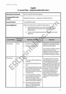 lesson plan adjectives esl worksheet by ningshuang